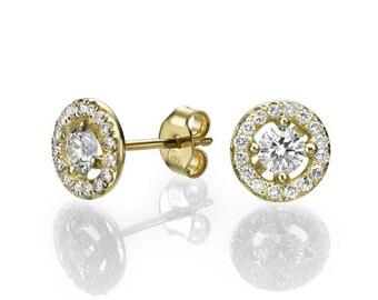 Diamond Stud Earrings, 14K Gold Earring Studs, 2 CT Diamond Studs, Gold Stud Earrings, Classic Diamond Earrings, Gold Earrings