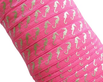 """Hot Pink with Silver Metallic Seahorses 5/8"""" Fold Over Elastic - 1, 3 or 5 yards"""