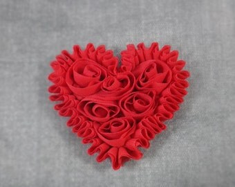 Set of 2 Red Chiffon Heart Applique