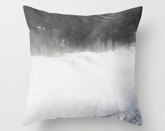 Windy Snow, Pillow Cover,16x16,18x18,20x20,home decor,winter decor interior design,Storm,grey,black, white,winter,nature,snow,Country Living