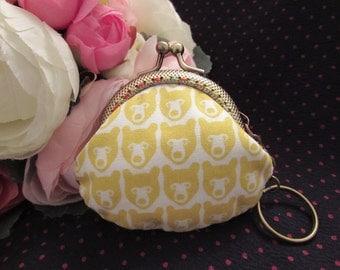 Handmade Yellow Bear Print Kiss Lock Coin Purse Coins Bag Small Pouch (6.5cm)