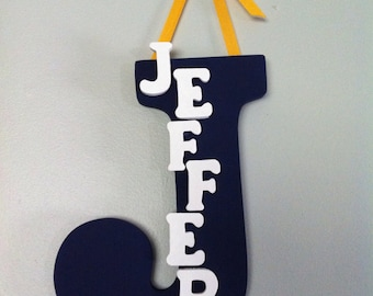 Personalized Boy Wood Letter and Name with Ribbon - Hand Painted - Hanging Nursery Decoration - Wall or Door Decoration