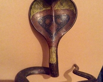 Antique Three Color Metal Serpent Snake Taper Candle Holder