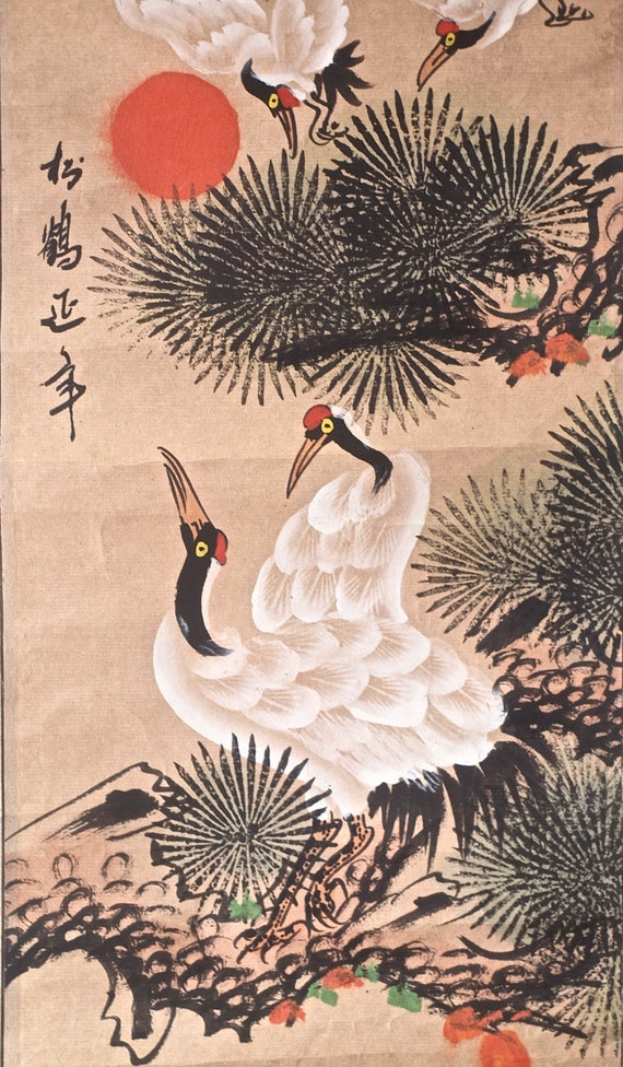 Red Crowned Crane Chinese Ink Painting Hanging Scroll