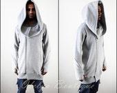 Oversized Hood Long Sleeve Overlong Men Hoodie // Raw edges at sleeve cuffs