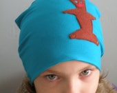 Children hat with Brown Teddy Bear/ Turquoise kids beanie/ Boy Hat/ Girls Hat