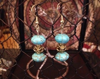 Handmade gold wire dangle earrings with marbled turquoise beads