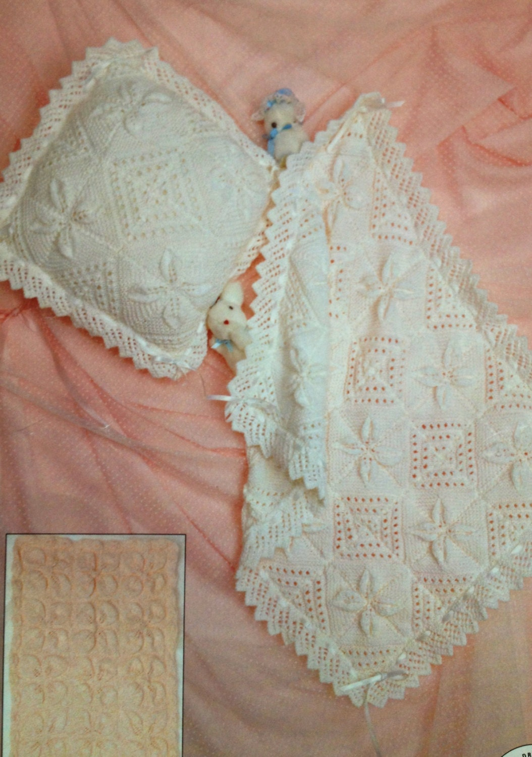 baby pram cover blanket and cushion knitting pattern vintage