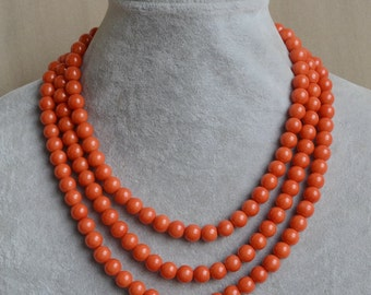 orange pearl Necklace,Triple Pearl Necklace,Wedding Necklace,bridesmaid necklace,Jewelry,Glass Pearl Necklace