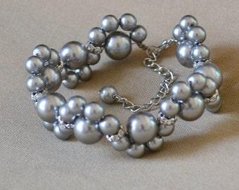 wedding bracelet,gray pearl bracelets,bride bracelet, bridesmaid bracelet, pearl flower bracelet, gray bracelet, wedding jewelry, Gray pearl