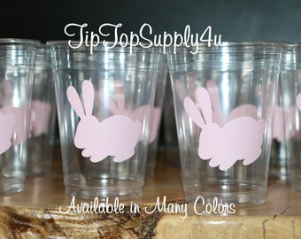 24 bunny, Easter 10 oz. 12 oz. or 16 oz. clear cup. Baby Shower, birthday party, party cups, vinyl sticker, garden party, Rabbit.  B-201