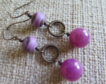 violet earrings, plum earrings, purple earrings, unique earrings, unique plum earrings, purple chalcedony earrings, casual earrings, fun