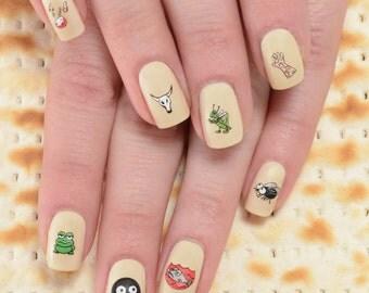 Passover Ten Plagues Nail Decals & Matza Nail Art