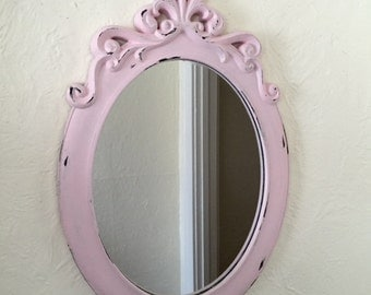 Oval mirror large, Pink, ornate shabby chic