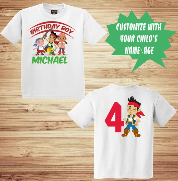 Jake and The Neverland Pirates Birthday Front and Back T Shirt Personalized