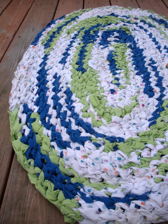 40x26 Crocheted Oval Rag Rug Royal Blue Lime By