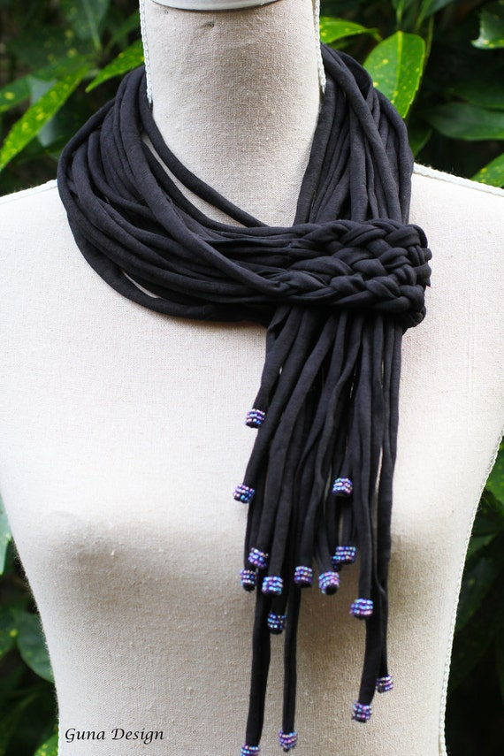 Black scarf lariat necklace with beads