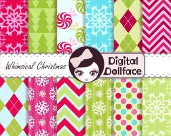 Whimsical Christmas Digital Paper, Colorful Christmas, xmas Snowflakes, Chevron