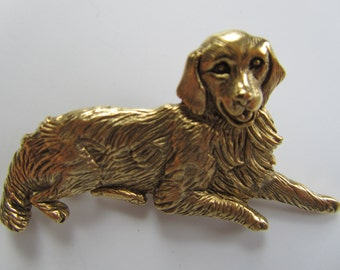 Vintage JJJonette Golden Retriever Dog Brooch pin