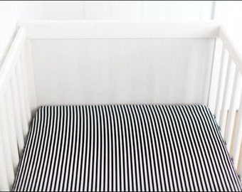 Black and white stripe changing pad cover