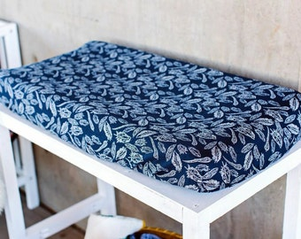 Navy Feather Changing Pad Cover, changing pad cover