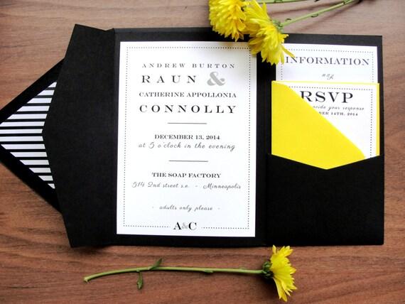 Custom Color Pocket Fold Wedding Invitation Set Resort