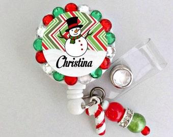 Retractable ID Badge Reel, Christmas Badge Reel, ID Nurse Badge Reel, Snowman (E221)