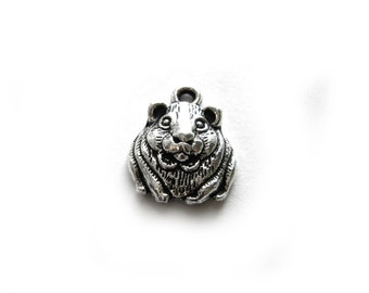 6 Silver Guinea Pig Charms