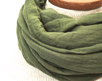 Forest Green Cotton Scarf, Summer Lightweight Scarf, Hand Dyed Moss Green Scarf, Mens Green Scarf, Rustic Woodland Olive Gauze, Green Fall