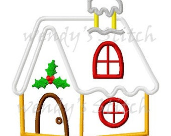 Christmas gingerbread house applique machine embroidery desing