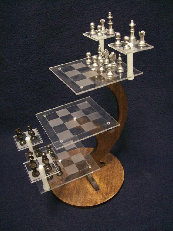 Tri Dimensional Chess Set Desktop Version Miniature Star Trek Style 3d Chess Set