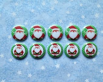 "Cute Santa Buttons, Santa Claus Buttons, Christmas Buttons, Holiday Buttons, 1"" Flatback Buttons, 10 Buttons Total"
