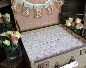 Custom Made Wishing Well Vintage Suitcase Card Box - Made to Order