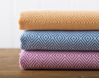 Diamond Towel, Bath Towel, Turkish Towel, Peshtemal, Hammam Towel, Mango, Cornflower, Lilac