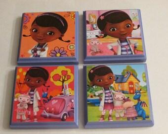 Disney Doc Mcstuffins Room Wall Plaques - Set of 4 Doc Mcstuffins Girls Room Decor - Doc Mcstuffins Wall Signs