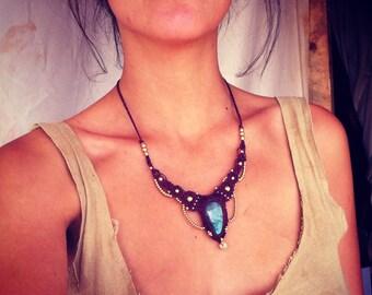 MAGICAL Labradorite tribal Macrame Necklace with brass beads TRIBAL jewelry bohemian gipsy jewelry