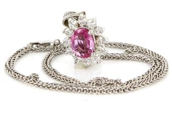 Vintage 18 Karat White Gold Diamond Natural Pink Sapphire Pendant Necklace Estate Jewelry