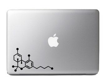 Chemical Compound Skeletal Formula-THC-Tetrahydrocannabinol Cannabis-Macbook,and Car Decal Custom Colors and Sizes Available