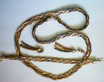 Gold, Silver, Rose, Brass & Copper Colored Braided Woven Metal Set - 3524