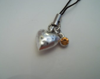 Birthstone Heart Cell Phone Charm - November