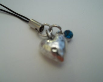 Birthstone Heart Cell Phone Charm - December