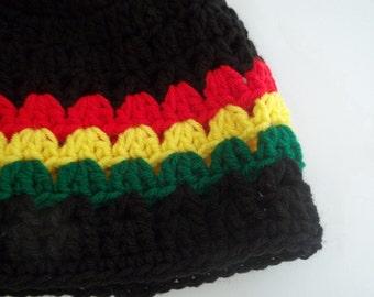 Crochet Hat Cap Beanie - Rastafarian - super SOFT