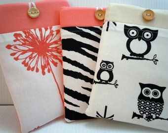 Kindle paperwhite cover Kindle paperwhite case sleeve Kindle HD small tablet Nexus 7 sleeve PRO PADDED choose from Wild Critters Collection
