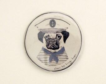 Sailor Pug Illustrated Pocket Mirror