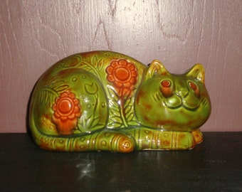 CAT  -  Vintage Green CAT with Brown Flowers and Designs