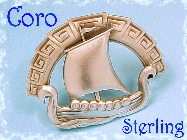 Coro Norseland Sterling Silver Scandinavian Viking Ship