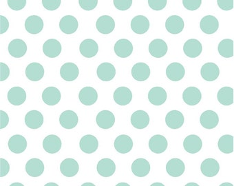 Mint green dot craft  vinyl sheet - HTV or Adhesive Vinyl -  white with large polka dot pattern HTV754