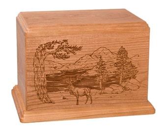 Cherry Elk Wood Cremation Urn