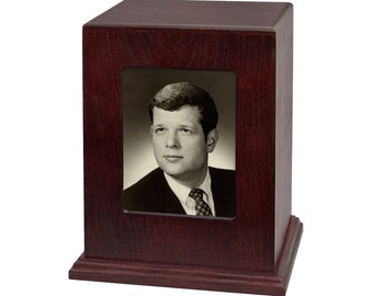 Rosewood Vertical Photo Wood Cremation Urn