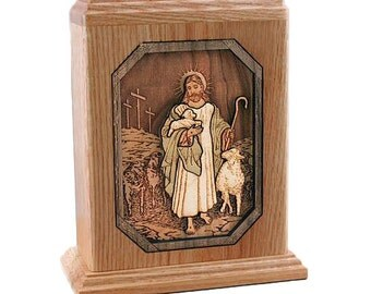 Oak Small Lord Is My Shepherd Wood Cremation Urn